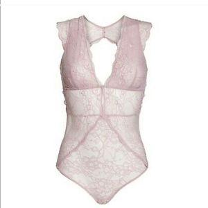 Sam Edelman Pink Lace Bodysuit
